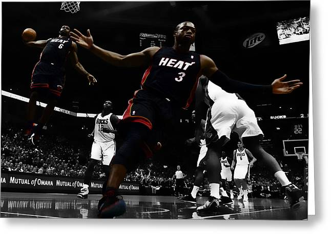 Miami Heat Digital Art Greeting Cards - Lebron and D Wade Showtime Greeting Card by Brian Reaves