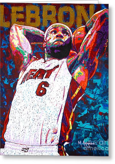 Lebron James Greeting Cards - LeBron Dunk Greeting Card by Maria Arango