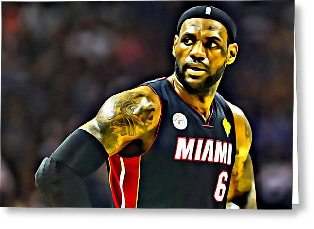 Miami Heat Posters Greeting Cards - LeBron Greeting Card by Florian Rodarte