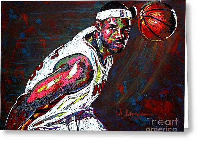 Basketball Paintings Greeting Cards - LeBron James 2 Greeting Card by Maria Arango