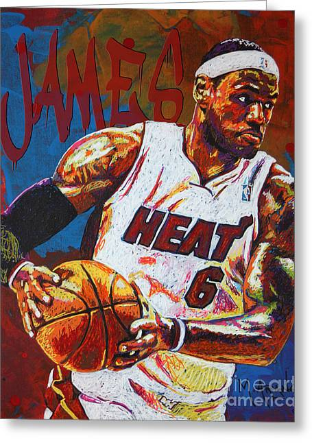 Hoop Greeting Cards - LeBron James 3 Greeting Card by Maria Arango