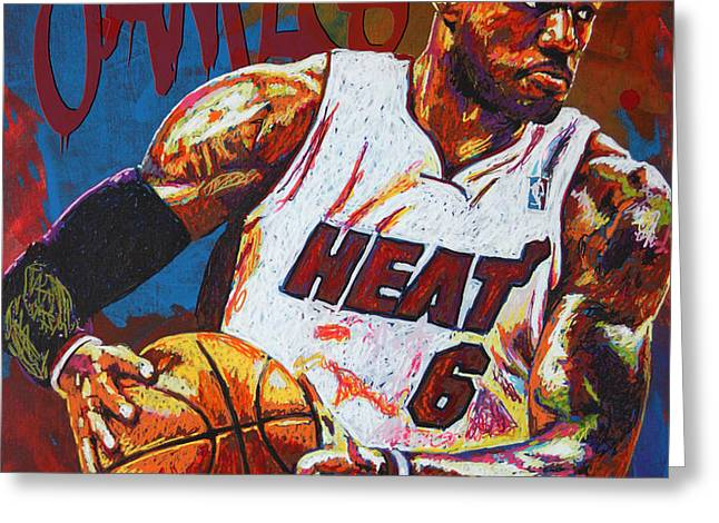 LeBron James 3 Greeting Card by Maria Arango