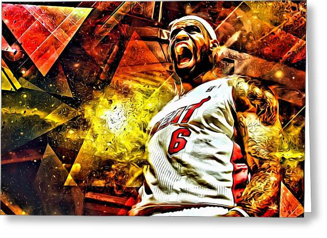 Best Sellers -  - Slamdunk Greeting Cards - LeBron James Art Poster Greeting Card by Florian Rodarte