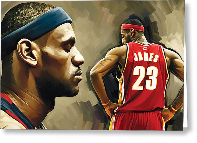 Nba Basketball Greeting Cards - LeBron James Artwork 1 Greeting Card by Sheraz A