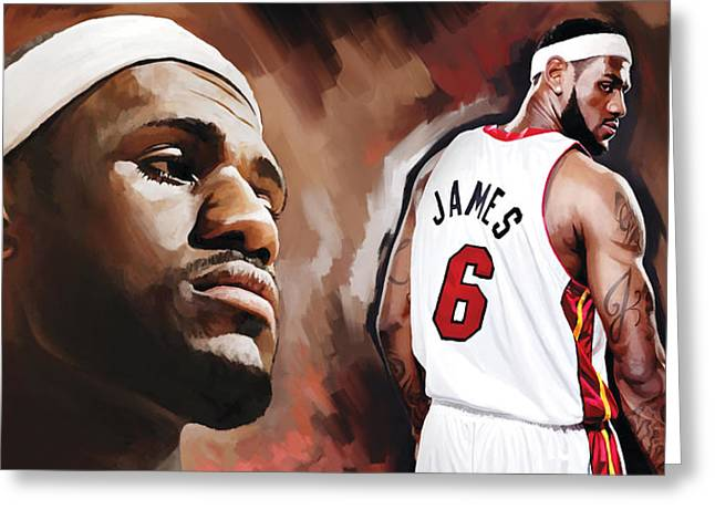 Heat Mixed Media Greeting Cards - LeBron James Artwork 2 Greeting Card by Sheraz A