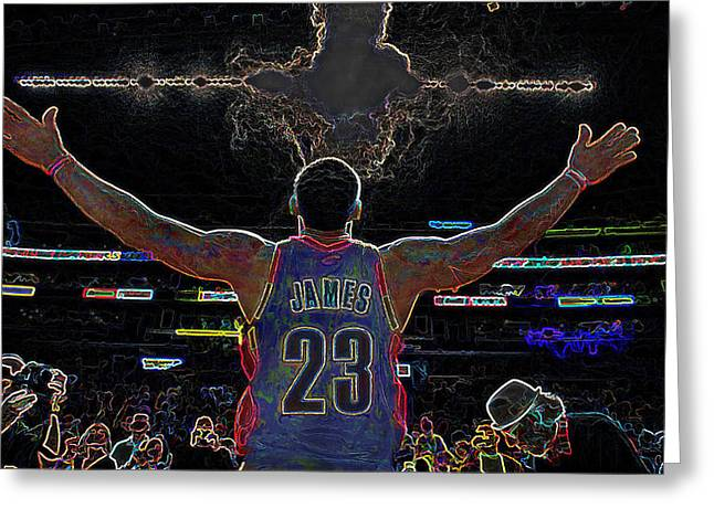 Recently Sold -  - Basketballs Greeting Cards - Lebron James Chalk Toss Basketball Art Landscape Painting Greeting Card by Andres Ramos