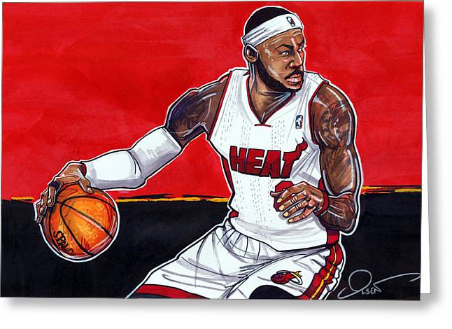 Miami Heat Artwork Greeting Cards - Lebron James Greeting Card by Dave Olsen