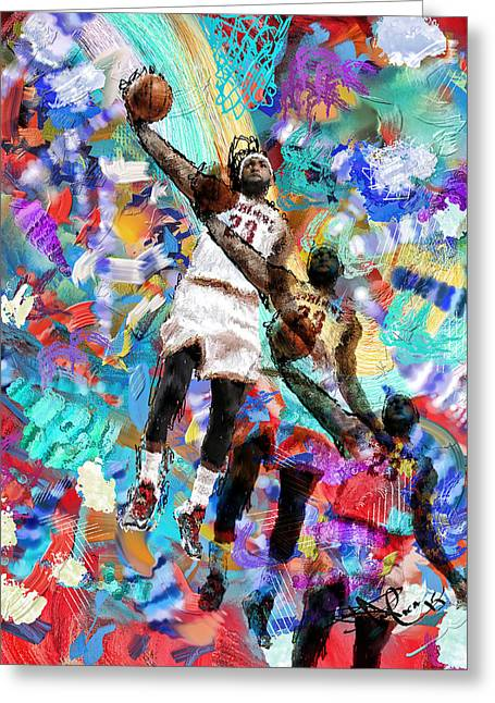 Lebron Digital Greeting Cards - Lebron James Greeting Card by Donald Pavlica