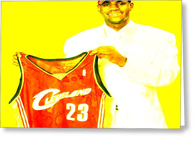 Lebron James Paintings Greeting Cards - LeBron James Going Home Greeting Card by Brian Reaves