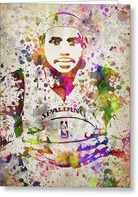 Lebron Digital Greeting Cards - LeBron James in Color Greeting Card by Aged Pixel