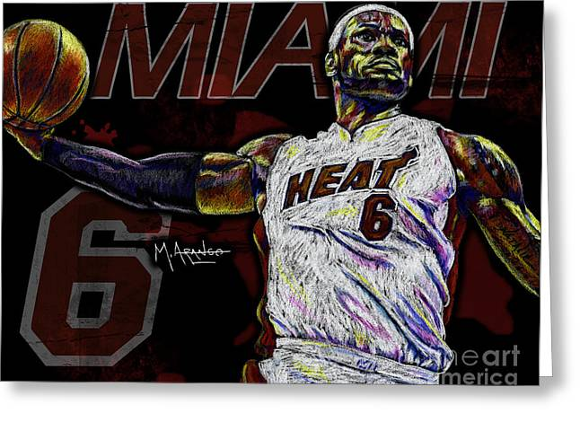 Hoop Greeting Cards - LeBron James Greeting Card by Maria Arango