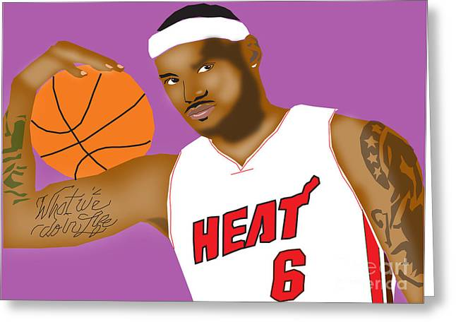 Lebron James Greeting Card by Michael Chatman