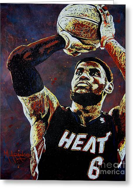 Team Paintings Greeting Cards - LeBron James MVP Greeting Card by Maria Arango