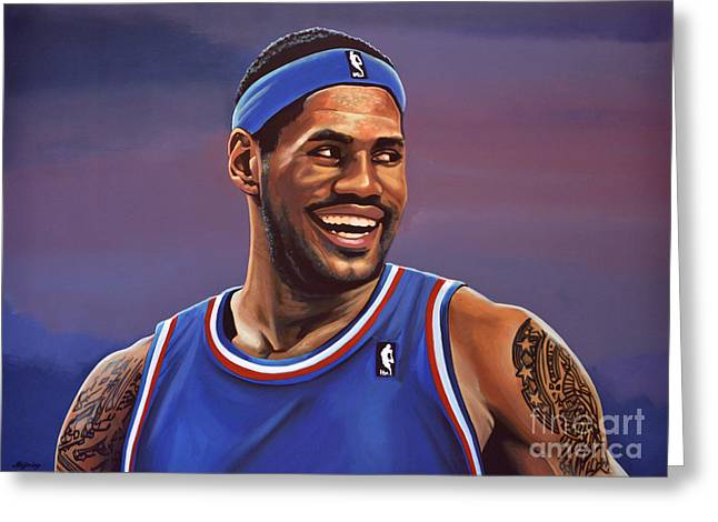 Nba Art Greeting Cards - LeBron James  Greeting Card by Paul  Meijering