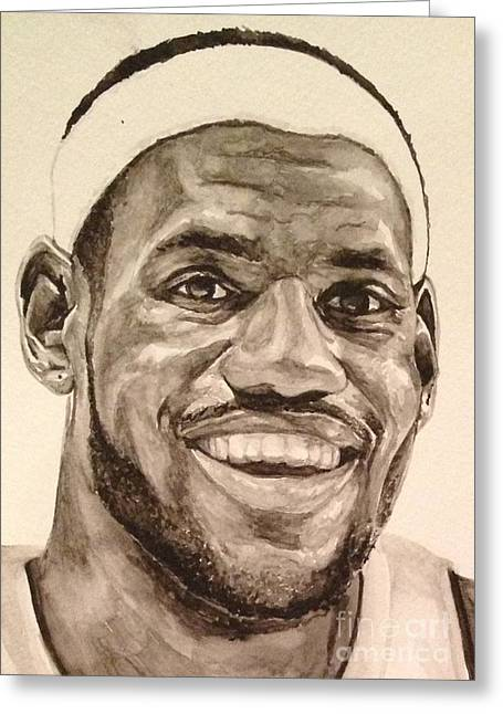 Miami Heat Greeting Cards - Lebron James Greeting Card by Tamir Barkan
