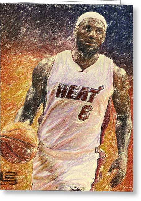 Miami Heat Posters Greeting Cards - Lebron James Greeting Card by Taylan Soyturk
