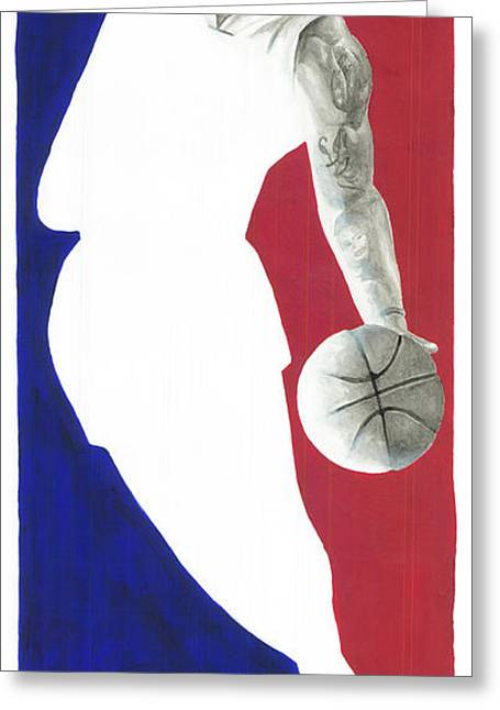 Jerry West Greeting Cards - Lebron NBA Logo Greeting Card by Tamir Barkan