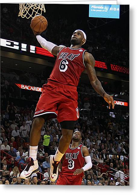 Dr J Greeting Cards - Lebron Greeting Card by Paint Splat
