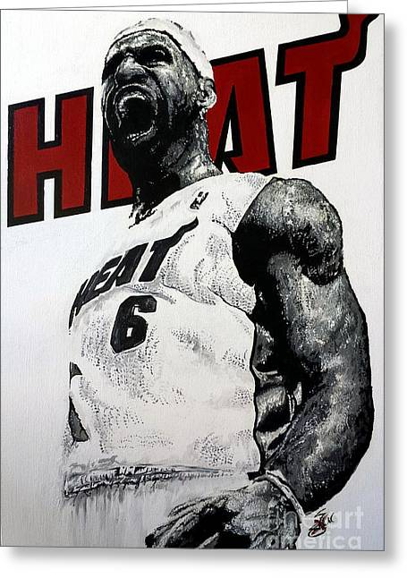 King Of Hoops Greeting Cards - Lebron Greeting Card by S G Williams