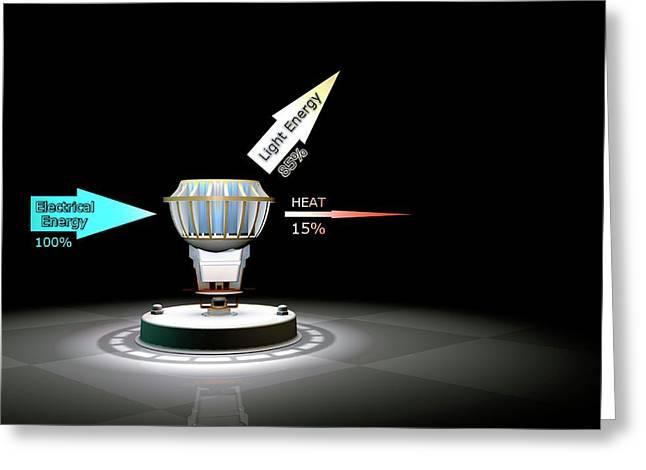 Led Light Bulb Efficiency Greeting Card by Animate4.com/science Photo Libary