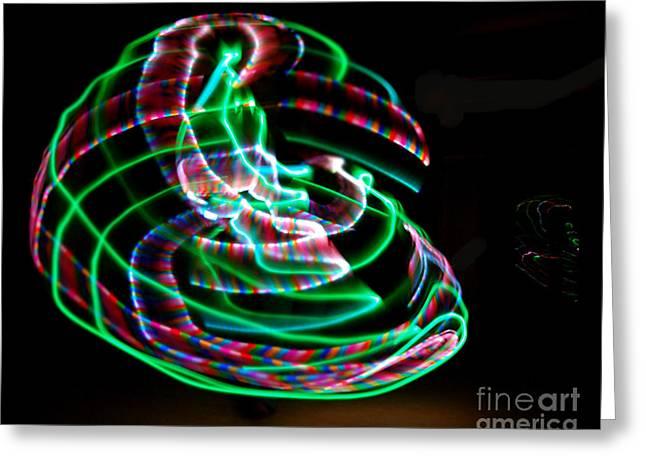 Hula Hoop Greeting Cards - LED orbs Greeting Card by Andrea Aycock