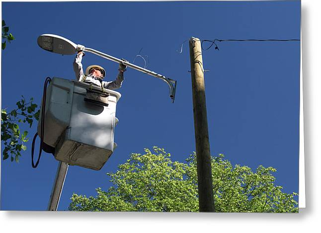 Led Street Light Installation Greeting Card by Jim West