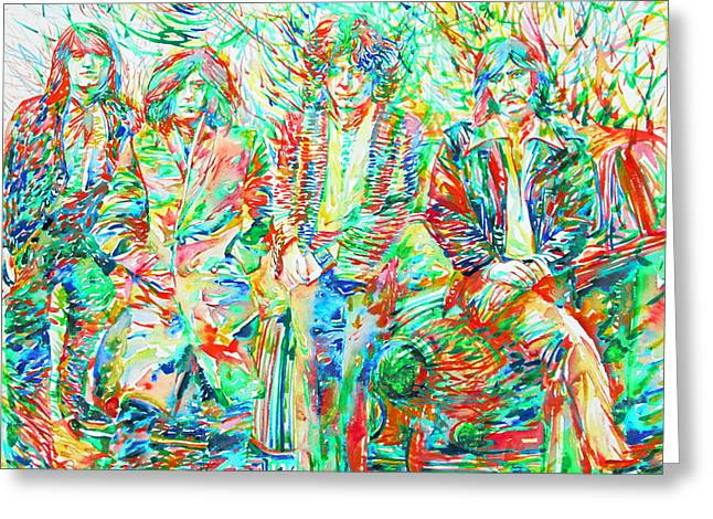 Robert Plant Paintings Greeting Cards - LED ZEPPELIN - watercolor portrait.1 Greeting Card by Fabrizio Cassetta