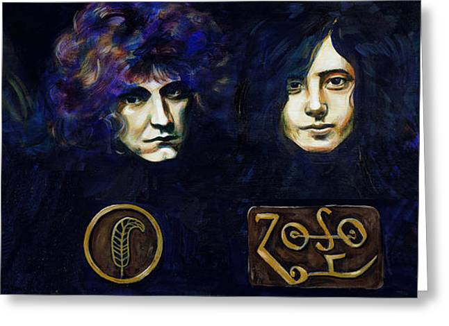 Robert Plant Paintings Greeting Cards - Led Zeppelin Greeting Card by Charles  Bickel