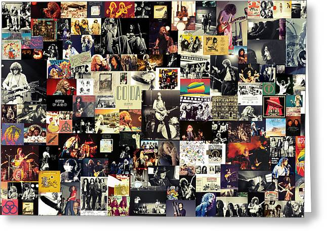 Hard Rock Mixed Media Greeting Cards - Led Zeppelin Collage Greeting Card by Taylan Soyturk