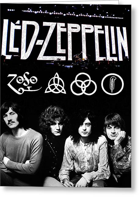 70s Greeting Cards - Led Zeppelin Greeting Card by FHT Designs