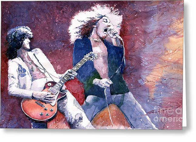 Emotions Greeting Cards - Led Zeppelin Jimmi Page and Robert Plant  Greeting Card by Yuriy  Shevchuk