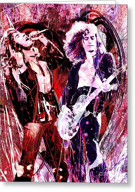 Mix Medium Paintings Greeting Cards - Led Zeppelin - Jimmy Page and Robert Plant Greeting Card by Ryan RockChromatic