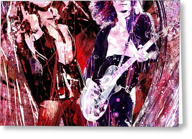 Led Zeppelin - Jimmy Page and Robert Plant Greeting Card by Ryan RockChromatic