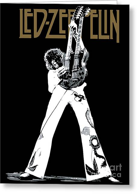White Digital Greeting Cards - Led Zeppelin No.06 Greeting Card by Caio Caldas