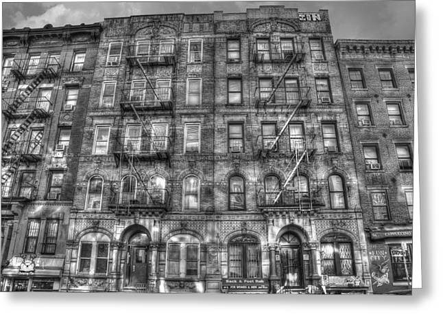 Graffiti Greeting Cards - Led Zeppelin Physical Graffiti Building in Black and White Greeting Card by Randy Aveille