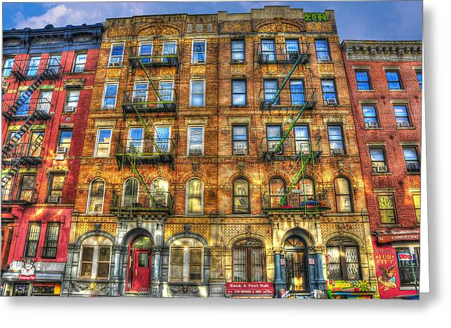Nyc Architecture Greeting Cards - Led Zeppelin Physical Graffiti Building in Color Greeting Card by Randy Aveille
