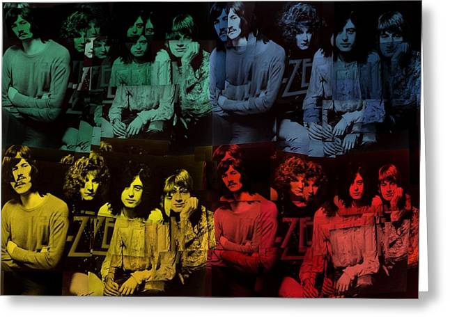 Lead Mixed Media Greeting Cards - Led Zeppelin Pop Art Collage Greeting Card by Dan Sproul