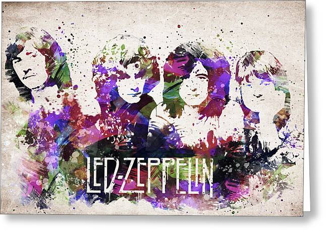 Heavy Metal Music Greeting Cards - Led Zeppelin Portrait Greeting Card by Aged Pixel