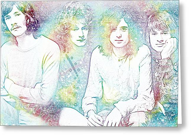 Iconic Guitar Greeting Cards - Led Zeppelin Tie Dye Greeting Card by Dan Sproul