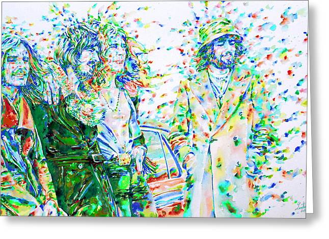 Robert Plant Paintings Greeting Cards - LED ZEPPELIN - watercolor portrait.2 Greeting Card by Fabrizio Cassetta