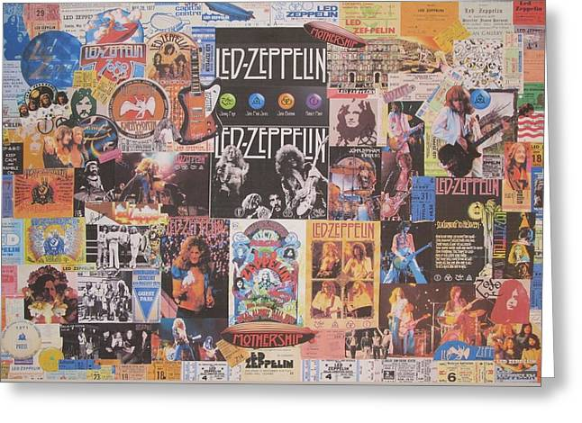 Led Zeppelin Greeting Cards Greeting Cards - Led Zeppelin Years Collage Greeting Card by Donna Wilson