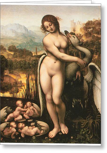 Swan Fantasy Art Greeting Cards - Leda and the Swan Greeting Card by Cesare Da Sesto