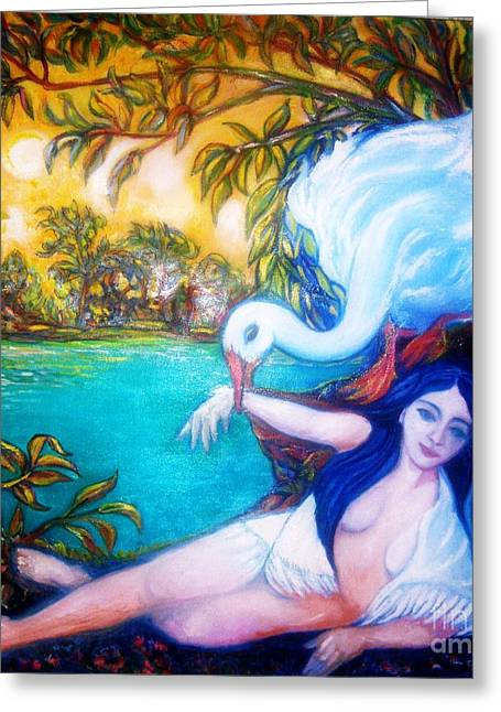 Gay Art Framed Giclee On Canvas Greeting Cards - Leda and the Swan Greeting Card by Gunter  Hortz