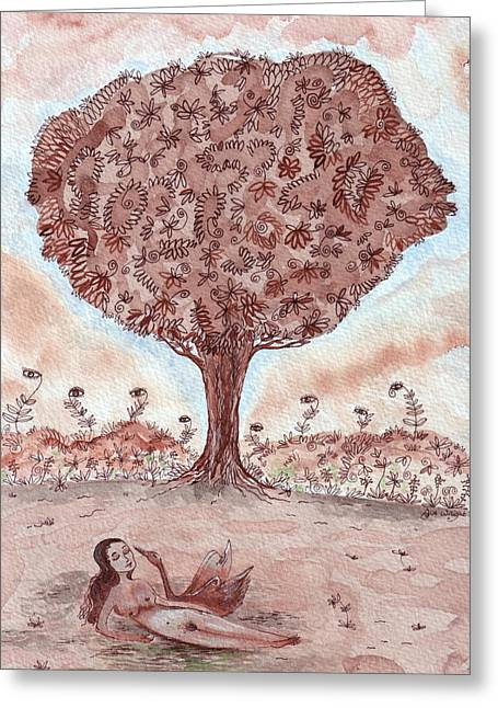 Leda Greeting Cards - Leda and the Swan II Greeting Card by Sue Wright
