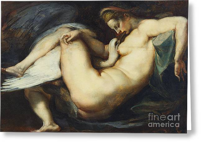 Swans... Greeting Cards - Leda And The Swan Greeting Card by Rubens