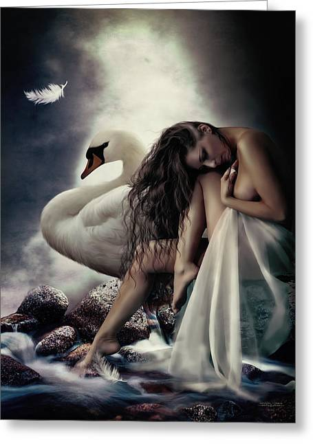Swans... Digital Art Greeting Cards - Leda and the Swan Greeting Card by Shanina Conway