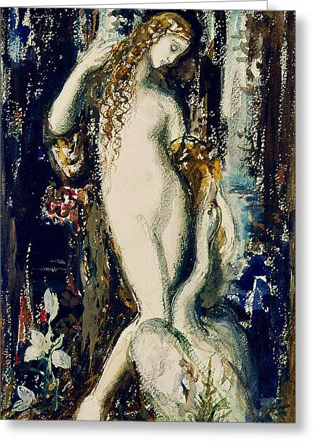 Zeus Greeting Cards - Leda Wc On Paper Greeting Card by Gustave Moreau