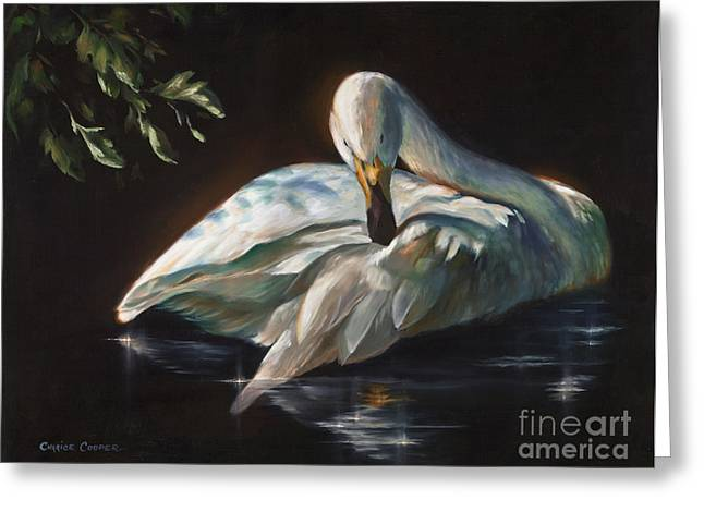 Charice Cooper Greeting Cards - Ledas Swan Greeting Card by Charice Cooper