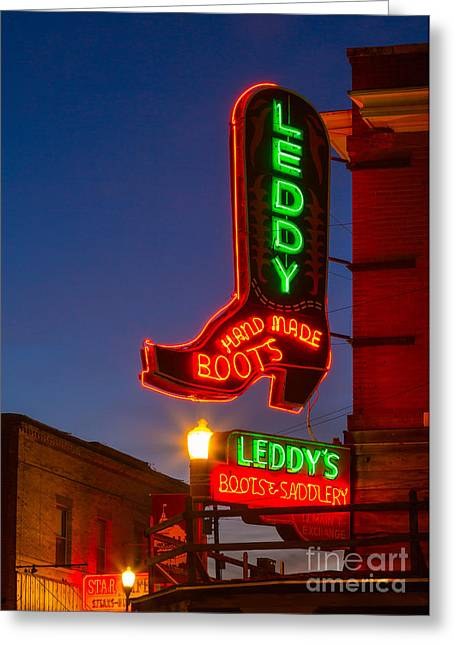 Historic District Greeting Cards - Leddy Boots Neon Greeting Card by Inge Johnsson