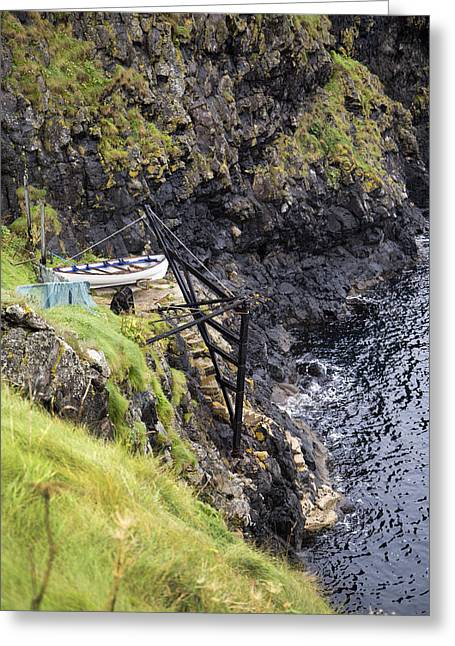 Modern Day Ruins Greeting Cards - Ledge Boat Carrick-a-Rede Northern Ireland Greeting Card by Betsy A  Cutler